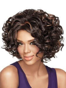 Woman in Curly Wig